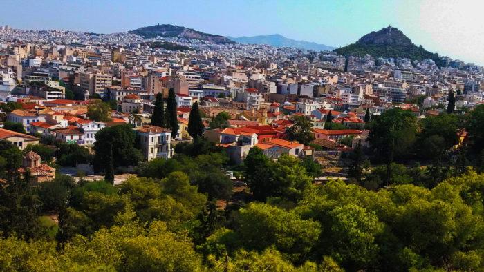 Вид на Афины с холма Арес