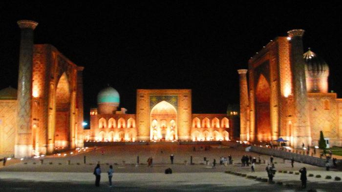 Самарканд Регистан ночью